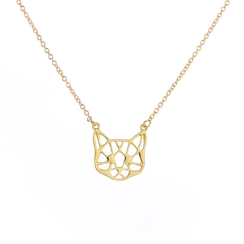 Geometric Kitty Face Pendant Necklace