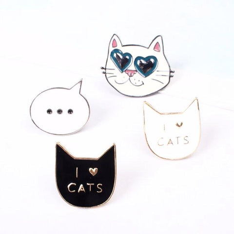 I Love Cats Enamel Pin Set