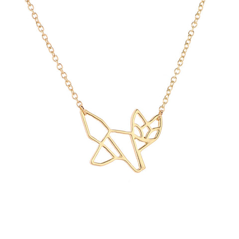 Geometric Fox Pendant Necklace