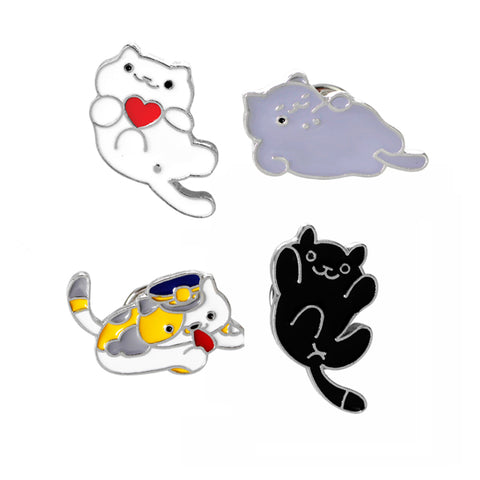 Playful Happy Cats Enamel Pin Set