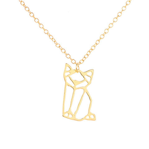 Geometric Darling Kitty Pendant Necklace