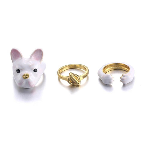 White French Bulldog Trio Ring