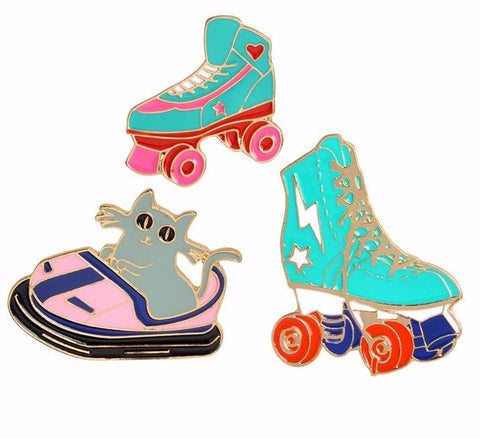 Bumper Car Kitty & Roller Skates Enamel Pin Set