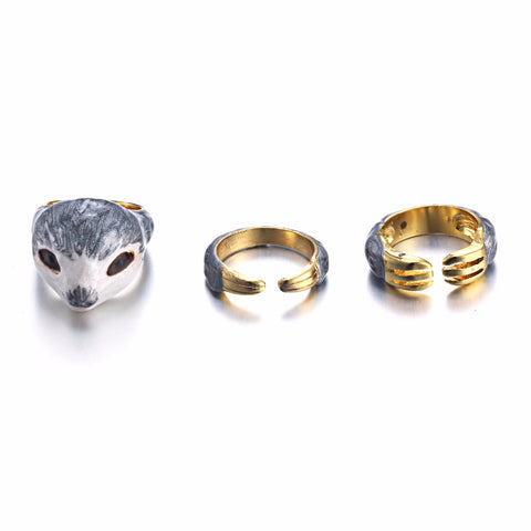 Cuddly Sloth Trio Ring