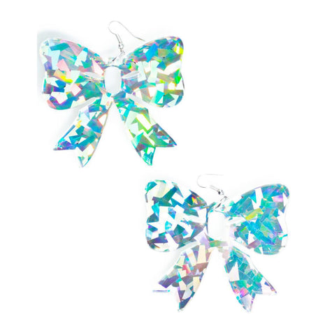 Glitter Bowknot Drop Earrings
