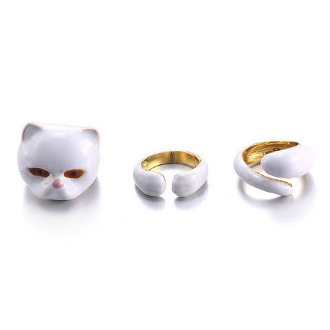 White Persian Cat Trio Ring