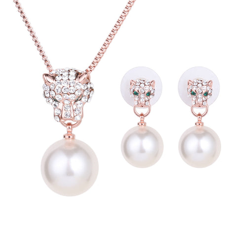 Pearly Pave Panther Jewellery Set