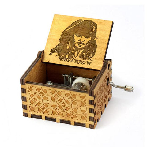 Antique Carved Music Box- Jack Sparrow