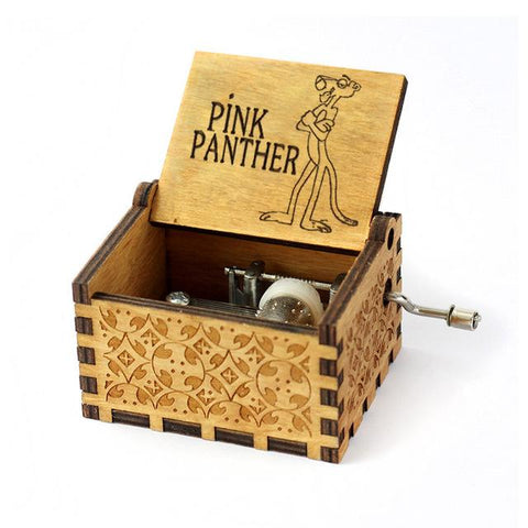 Mistra Antique Carved Music Box - Pink Panther
