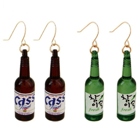 MIniature Korean Beer Bottle Drop Earrings