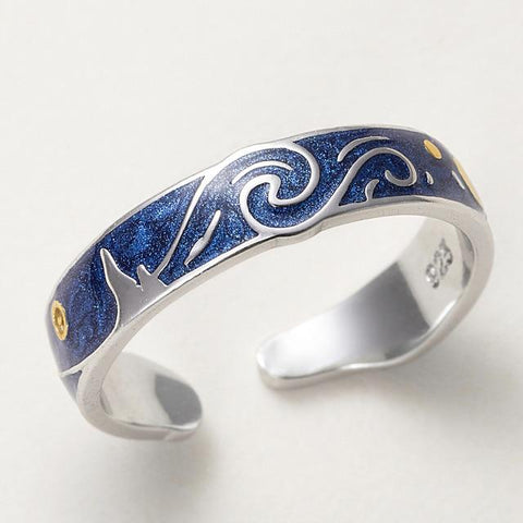 Starry Night Silver Ring -Van Gogh