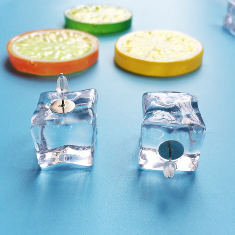 Miniature Ice Cube Stud Earrings