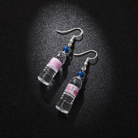 Miniature Mineral Water Bottles Earrings