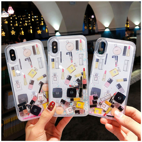 Cosmetics Combo Glitter Quicksand Liquid Phone Case