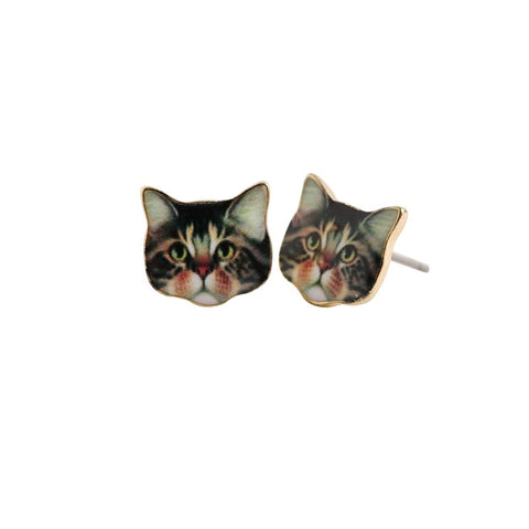 Kitty Face Stud Earrings