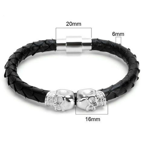 Skull Twin Heads Titanium Steel Leather Bracelet