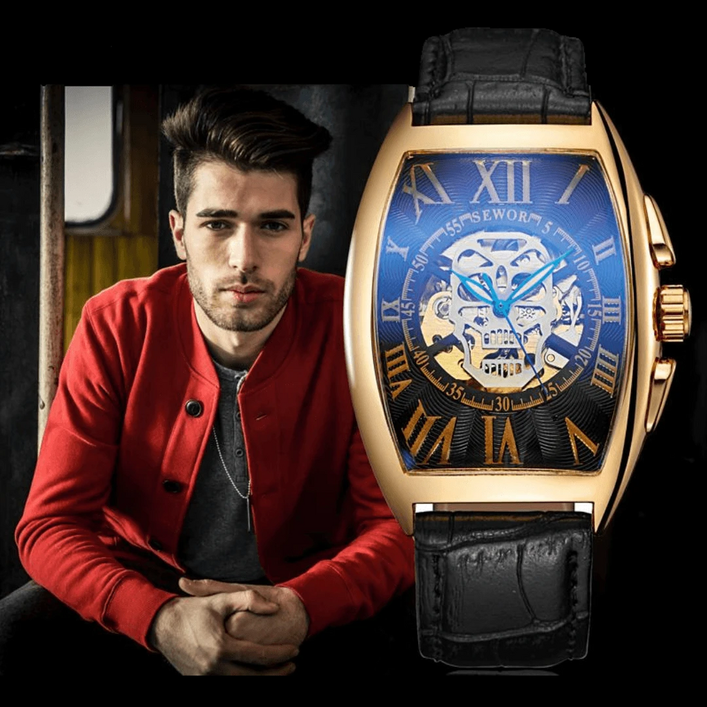 Gold Skeleton Automatic Mechanical Leather Skull Watch