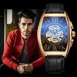 Gold Skeleton Automatic Mechanical Leather Skull Watch - Skullflow