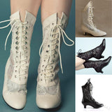 Victorian Lace Hollow Out Pointed Boots