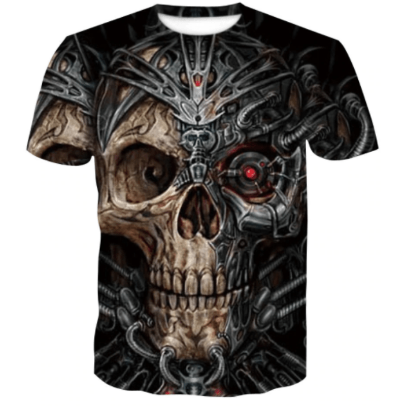 Mechanical Skull Punk T-Shirt