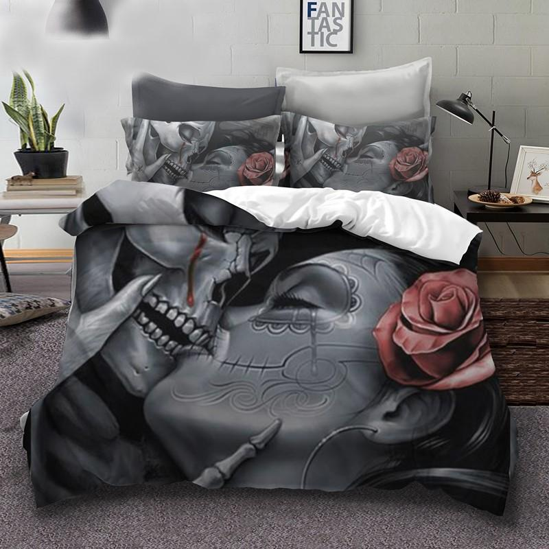 Sugar Rose Skull Kiss Bedding Set