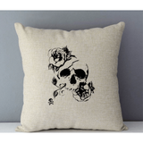 Black Skull Sketch Couch Cushion Cover - Skullflow