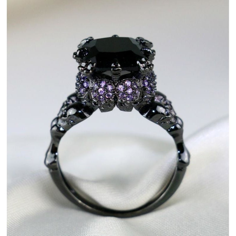 Skull Black Purple Ring - Skullflow