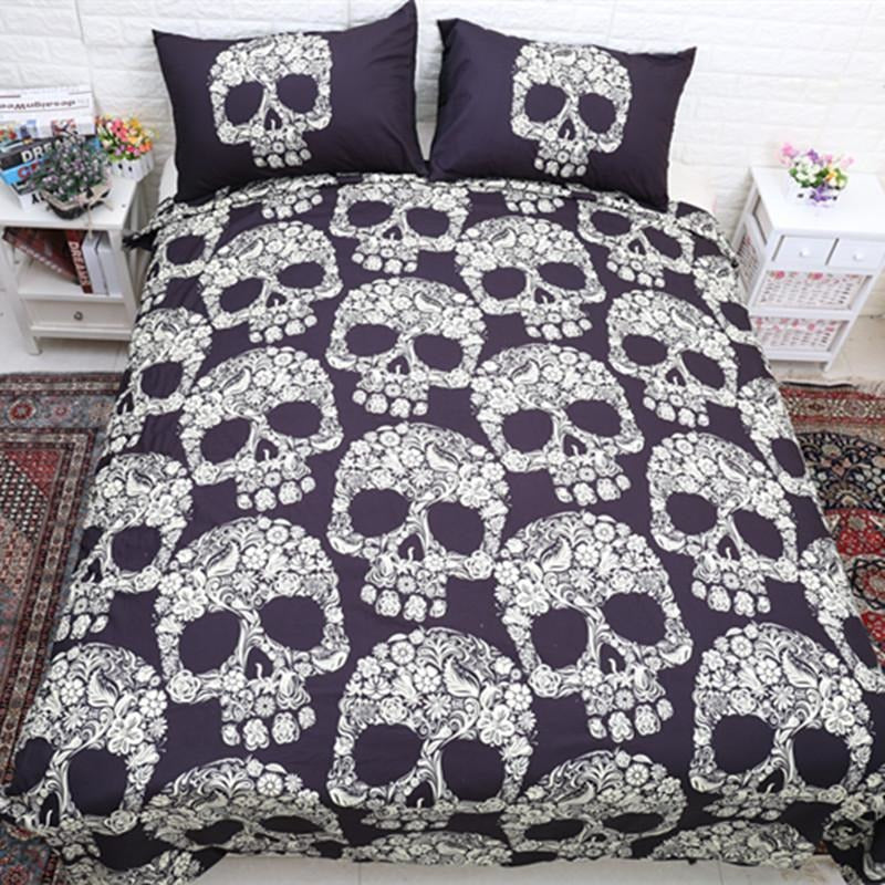 3D Skull Bedding Set - Dark Brown - Skullflow