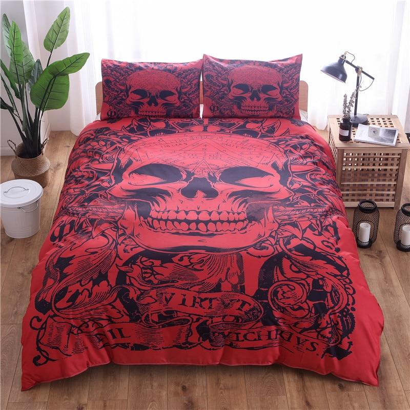 3D Red Black Sugar Skull Bedding Set