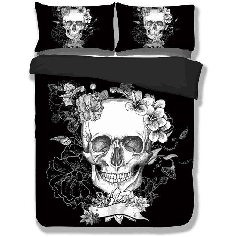 Black & White 3D Floral Skull Bedding Set - Skullflow