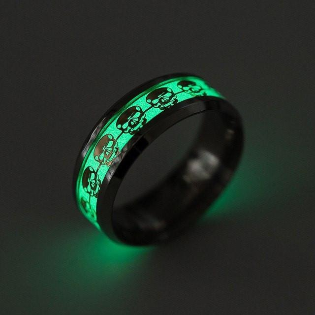 Luminous Skull Glow In The Dark Ring - Skullflow