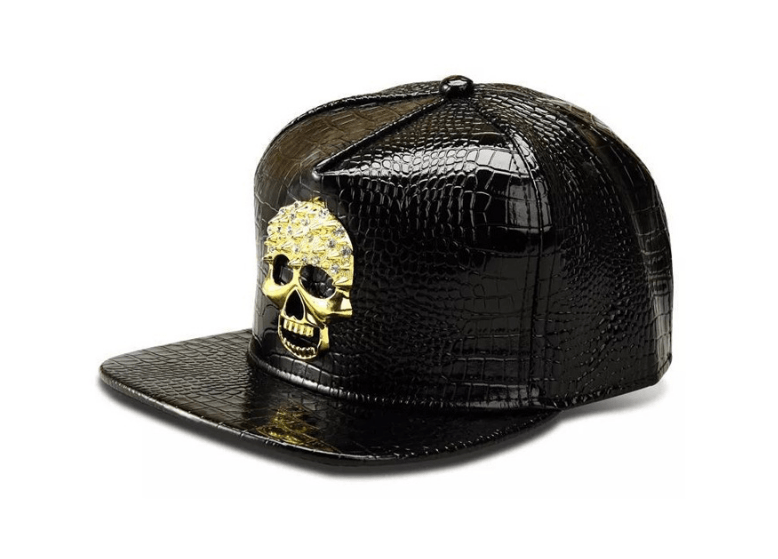 Crocodile PU Leather Golden Skull Cap