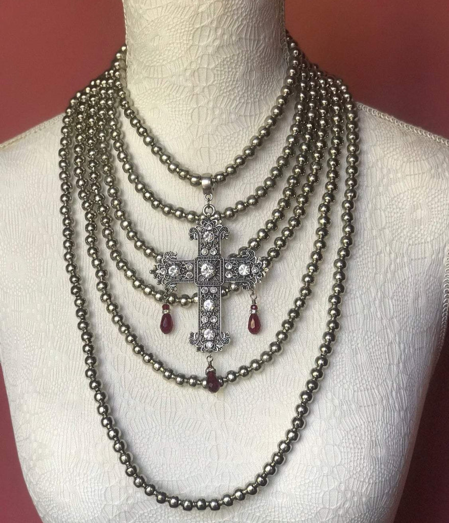 Baroque Style Cross with Multi-Strand Metal Bead Necklace
