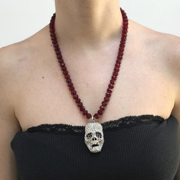 Garnet Red Crystal Faceted Beads Skull Necklace