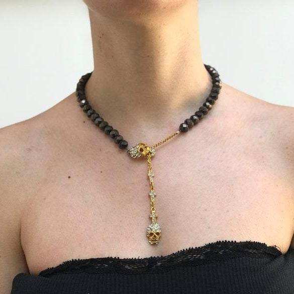 Metallic Black Faceted Stone Skull and Cross Necklace