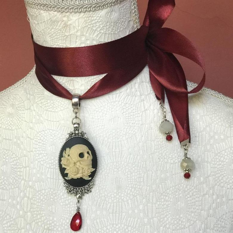 Skull Cameo Choker Necklace with Red Crystal