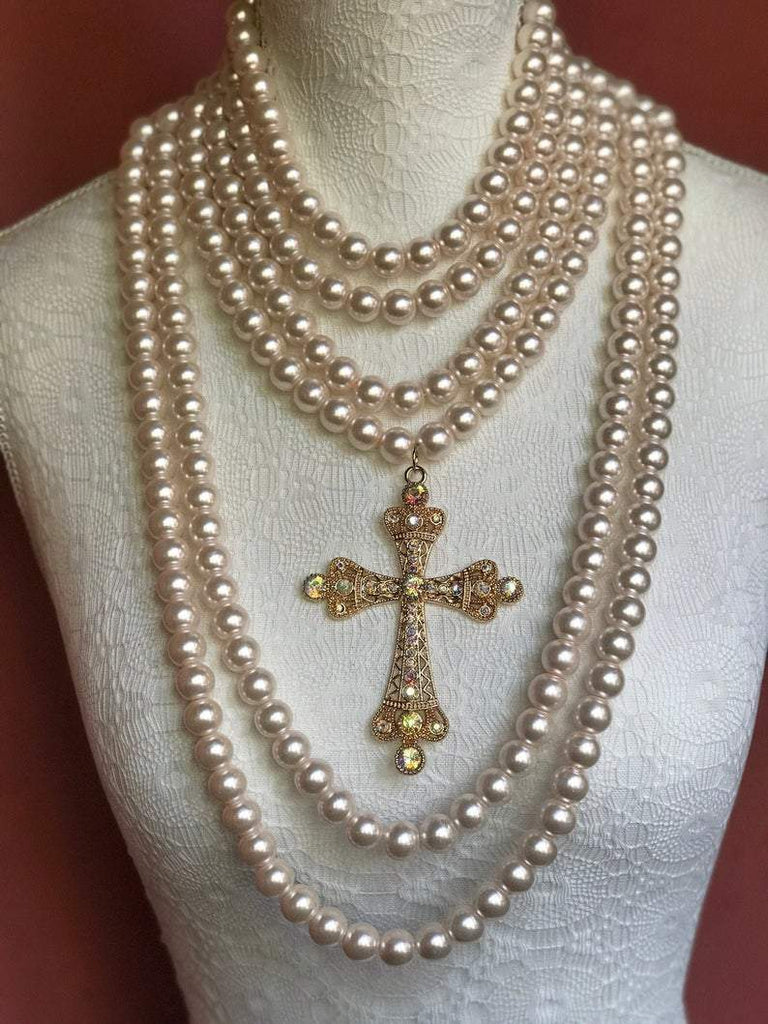 Baroque Style Cross with Multi-Stand Pearl Necklace