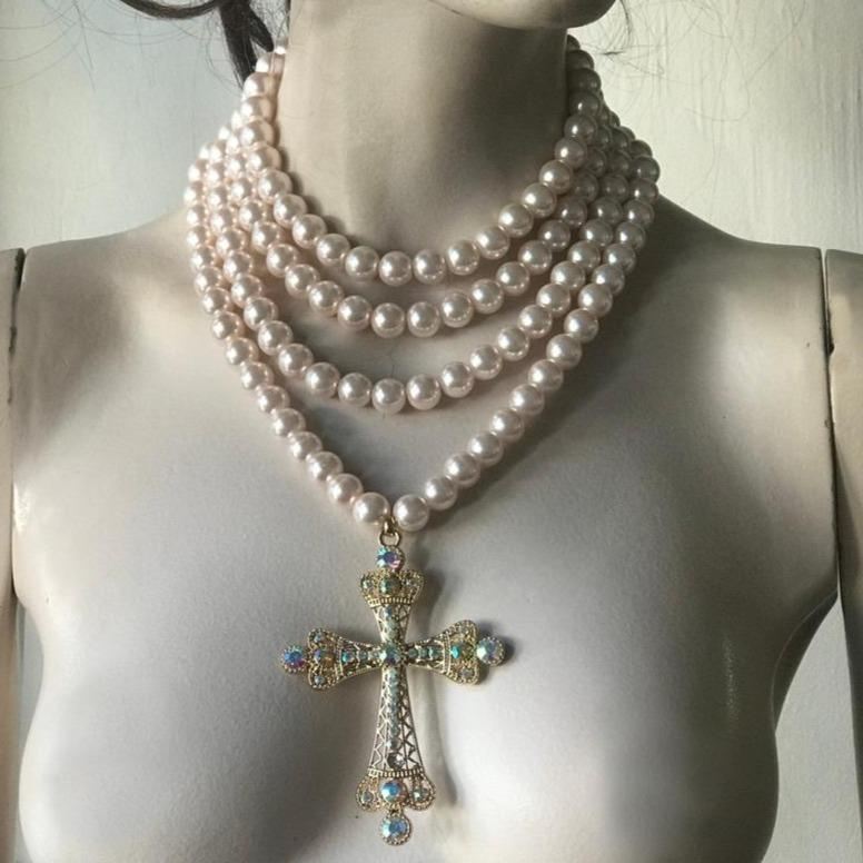 Baroque Style Cross with Four Layered Pearl Necklace