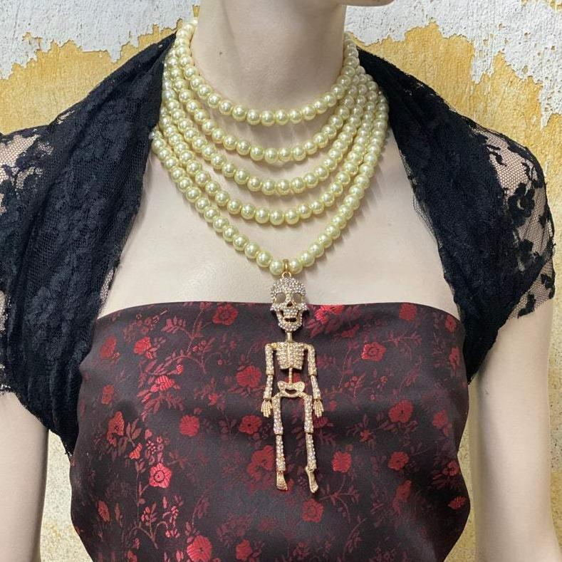 Multi-Strand Pearl Skeleton Necklace