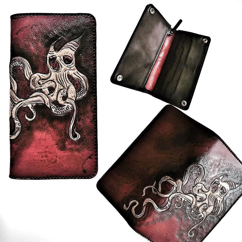 Octopus Skull Leather Wallet