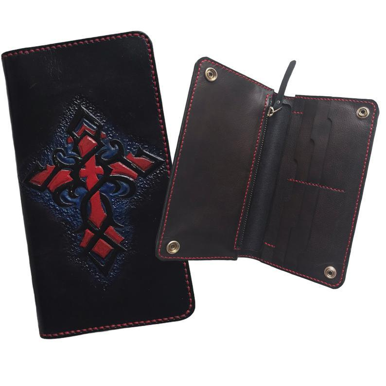 Gothic Cross Long Leather Wallet