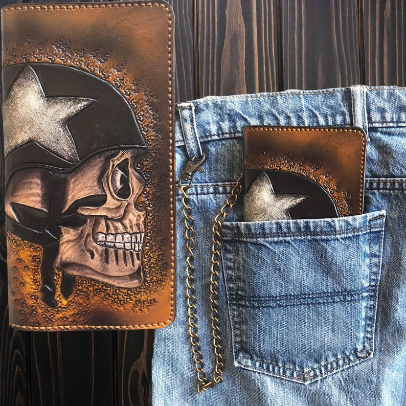 Skull Helmet Handcrafted Leather Wallet