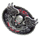 Vintage Skull Skeleton Head BIKER TO THE BONE Belt Buckle - Skullflow
