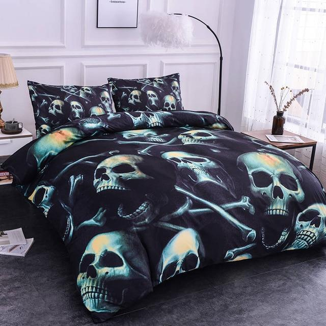 3D Skull Skeleton Quilt Bedding Set