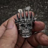King Crown Skull Biker Ring
