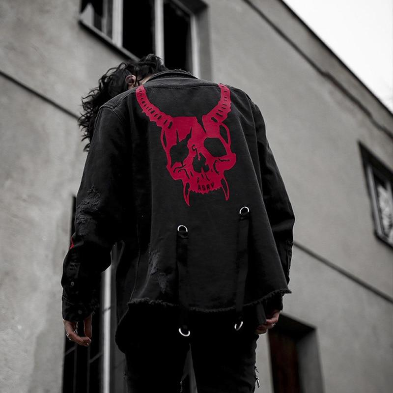 Gothic Demon Hunter Skull Denim Jacket - Skullflow