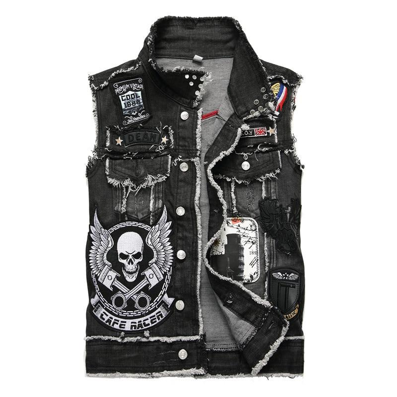Men's Skull Embroidery Denim Vest