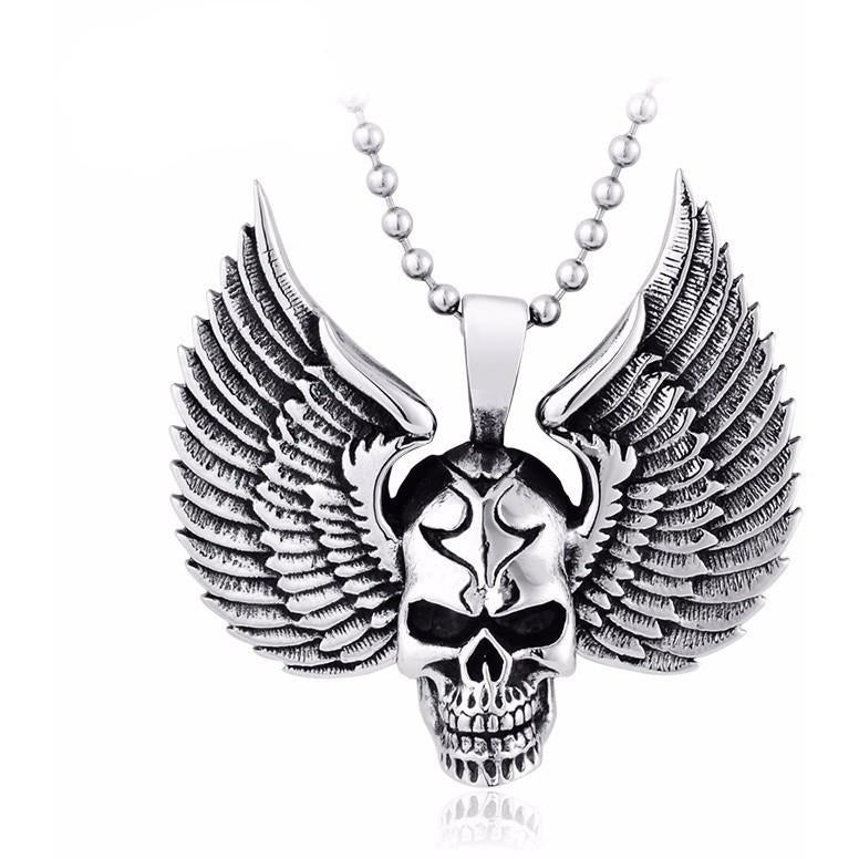 Stainless Steel Skull Punk Pendant Necklace - Skullflow