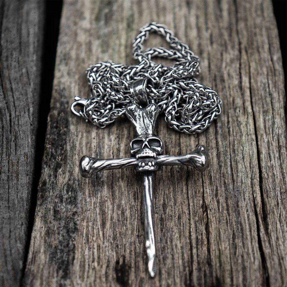Nail Spike Trial Cross Skull Necklace