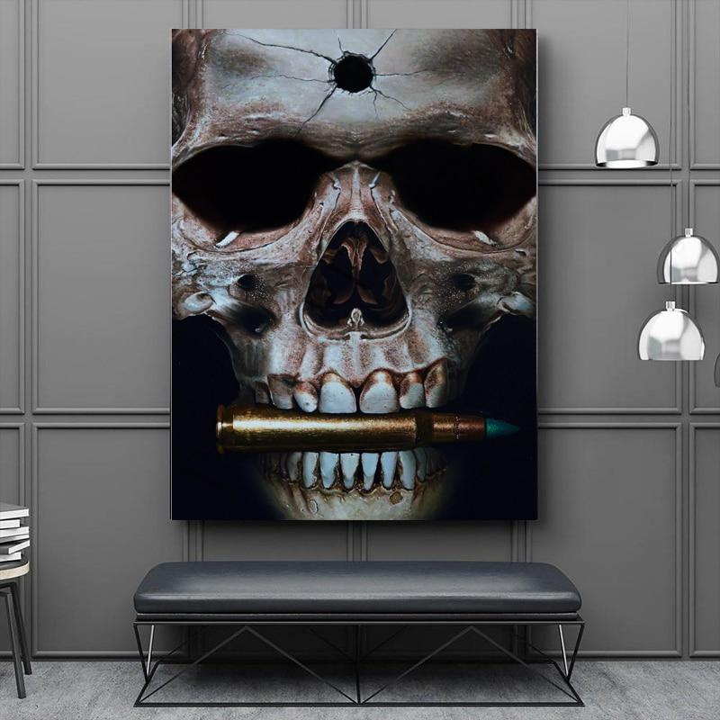 Skull Bit Bullets Wall Art